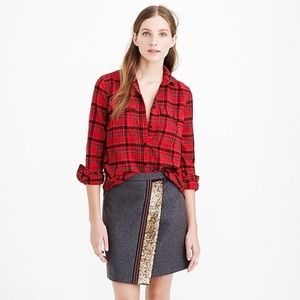 J. Crew Red Plaid Boyfriend Flannel Size 00